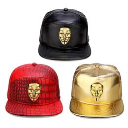 Vendetta oro online-Uomo Donna Rock regali cappello hip hop PU Coccodrillo oro Fawkes Fancy Mask Snapback Bling V per Berretti da baseball Vendetta