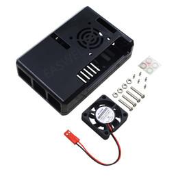 ventilador superred 12v Rebajas Caja de caja de caja de ABS negro con ventilador de enfriamiento + kit de disipador de calor para Raspberry Pi 3