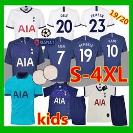 2019 camisa piscando Top camisa de futebol tailândia KANE esporas camisa de futebol 18 19 20 LUCAS ERIKSEN DELE FILHO 18 19 19 homens e crianças conjunto Tottenham uniforme camisa piscando barato