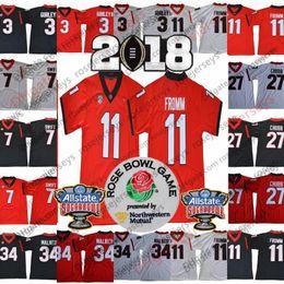jersey de gurley Rebajas 2019 Georgia Bulldogs # 11 Jake Fromm 7 DAndre Swift 3 Todd Gurley II Walker Negro UGA blanca Rose Bowl Sugar Championship Jerseys