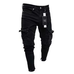 Jeans solides en Ligne-Crayon Jeans Pour Hommes Petit Trou Fermeture Éclair Solide Nouvelle Mode Lavé Européen Et Américain À Vent Pantalon Style Décontracté