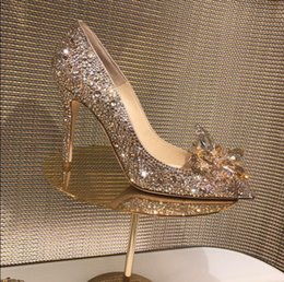 Elegant Champagne Crystal High Heel Pumps Shoes Women Pointed Toe  Cinderella Rhinestone Bride Shoes Slip-on Ladies Wedding Party Dress Shoes 3f1ff56bba86