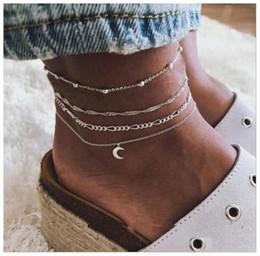 2019 tornozelo escravo sexy Moda 4 Camadas praia tornozeleira pé / perna cadeia pulseira jóias para as férias de verão com os pés descalços sandálias frete grátis