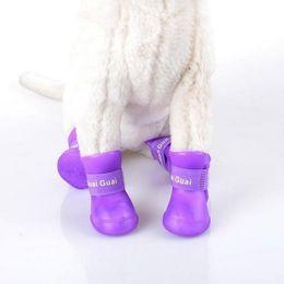 Hoomall 4PCs silicone impermeabile colore della caramella stivali da pioggia in gomma per accessori per cani Pet vestiti Cat Shoes da