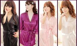 2019 lunghi abiti di cablaggio neri Biancheria + g-string della babydoll dell'accappatoio dell'accappatoio del kimono del vestito da seta di seta delle donne sexy Trasporto libero