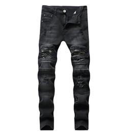 Vêtements en jeans en difficulté en Ligne-2019 Nouvelle Mode Jeans Hip Hop Hommes Designer Vêtements Nouvelle Mode Détresse Ripped Skinny Denim Biker Jeans Hommes Pantalon