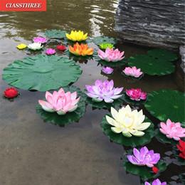 ornamento do jardim de flor de lótus Desconto Planta Water Lily 1PC Artificial Lotus Floating Flower Pond Tanque ornamento 10 centímetros Início Garden Pond Decoração C18112601