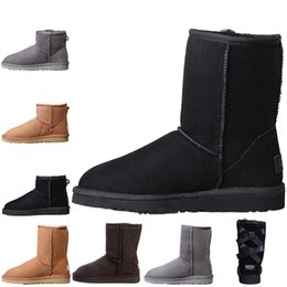 botas de tornozelo para mulheres Desconto UGG WGG Australia women boots Moda Womens Australia Clássico ajoelhar Botas Ankle boots Preto cinza castanha alta qualidade Mulheres menina botas Tamanho 36-41