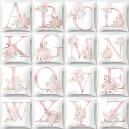 lança câmera Desconto Floral cor-ins grinalda única letra maiúscula Imprimir Sofá almofadas decorativas capas de almofada caso presente do dia Super Macio Festival Lance Pillowcase