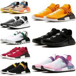 2019 MENS Running Shoes Human Race Pharrell Williams HU X Holi Cream Yellow White Women Men Sports Shoes Athletic Man Shoes Discount Trainer Sale