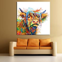 Cuadros frescos pintados online-JQHYART Resumen Animal Pintura Love To Play Cool Cow Decoración para el hogar Imagen de la Pared Imágenes Para la Sala Sin Marco Arte de la Lona