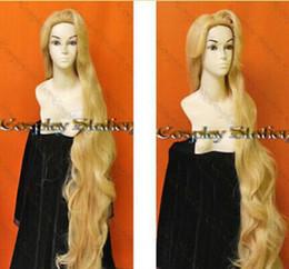 Parrucca stile Rapunzel stile parrucca 150 cm resistenza capelli misti oro ad alta temperatura Spedizione gratuita cheap gold resistance da resistenza all'oro fornitori