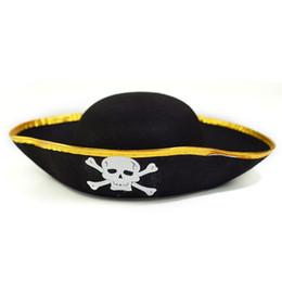 Nuevo Sombrero de Halloween Cosplay Prop Fiesta fresca Adulto Niño Pirata  Capitán Gorra Esqueleto del Caribe Sombrero pirata d044e9d622c