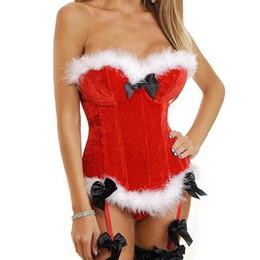 2019 samt sexy sankt Sexy Red Fluffy Trim Velvet Strapless Vollbrust Bustier Korsett Satin Bow und Hosenträger Top Weihnachten Mrs Santa Rollenspiel Kostüm günstig samt sexy sankt