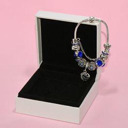 2019 mondcharme armband 925 Silber PLATED Star Moon Charms Armband Original Box Set für Pandora Blue Beads Charm DIY Armbänder für Frauen Mädchen Geschenk rabatt mondcharme armband