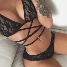2019 ensemble de dentelle noire Ensemble de bikini noir sexy à lacets pour femmes été soutien-gorge sous-vêtement ensemble de lingerie Ensemble de bikini noir à lacets pour femmes sexy été soutien-gorge ensemble de dentelle noire pas cher