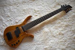 Guitarra mogno laranja on-line-Guitarra baixa fábrica Laranja 7 cordas elétrico com Mahogany corpo, Black Hardwares, Mapa Grain Veneer, pode ser personalizado