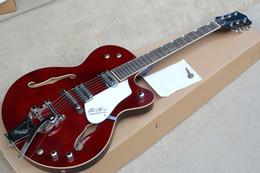 Guitarra semi-oca branca on-line-Fábrica Custom Rosewood Fingerboard Guitarra Elétrica Semi-oco com hardware Chrome, ponte Tremolo, branco pickguard, pode ser personalizado