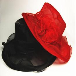 женские солнцезащитные шлемы Скидка Новый конструктор 56см дамы органзы Hat Kentucky Derby Wedding Party церковь Цветочные ВС лето Hat для вечеринок