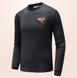 Estilos de pescoço suéter para homens on-line-Novo estilo Marca Carta Bordado Malhas de Inverno Dos Homens de Roupas Tripulação Pescoço Camisola de Manga Longa para Homens Designer de Moda Hoodies