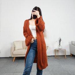 2019 Ulzzang Mädchen Beiläufige Lange Strickjacke Herbst Koreanische Frauen Lose Einfarbig Tasche Design Pullover Jacke Rosa Beige Kühltaschen