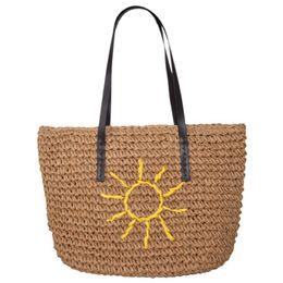 borsa ricamata a mano Sconti Borsa estiva da donna Nuova Boemia Sun Flower Borsa ricamata a mano Borsa tessuta estiva