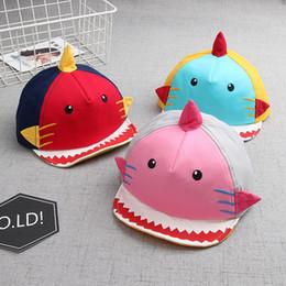 Casquettes de baseball bébés en Ligne-Les enfants en forme de requin casquette de baseball infantile Toddler bande dessinée chapeau garçon fille coton a atteint un sommet Caps pour 12-36 mois bébé LJJR845