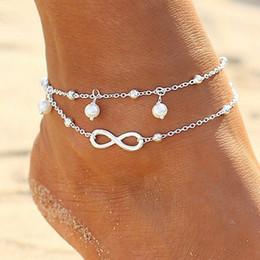 Sandalias sexy de moda online-La manera simple de cadena doble atractivo de las mujeres del tobillo pulsera para el tobillo del pie descalzo de la sandalia de la playa regalos del banquete de joyería