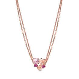 pêssegos de ouro Desconto 2019 NOVO 100% 925 Sterling Silver Peach Blossom Flower Rose Colar de Ouro Claro CZ Dia dos Namorados Original Moda Jóias Presente