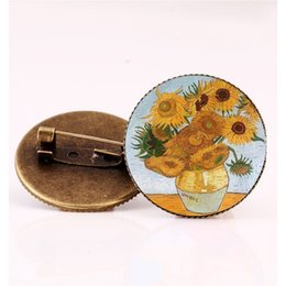 2019 broches antiguos de bronce Noche estrellada de Van Gogh de la vendimia girasol Broche de bronce antiguo, el beso Arte Pintura Ronda 25mm cristal de la bóveda broches de los pernos broches antiguos de bronce baratos