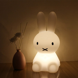 night lamps for kids Promo Codes - H28CM Led Rabbit Night Light USB for Children Baby Kids Gift Animal Cartoon Decorative Lamp Bedside Bedroom Living Room