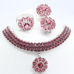 2020 conjunto de brinco de colar de rosa vermelha 925 prata esterlina jóias Rose Red Cristal Conjunto de Jóias para mulheres Brincos / pendente / colar / anel / pulseira conjunto de brinco de colar de rosa vermelha barato