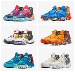 scarpe da ginnastica riscaldate Sconti Kyrie Mens Pre-Heat Shanghai Pechino Jet Black 6 Basketball Shoes Designer Irving 6s NYC Miami Houston Heal the World Sports Sneakers 7-12