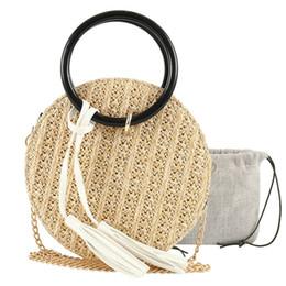 Bolso de paja pequeño online-2019 Lovely Retro Women Ladies Hand-weave Handbag Handbag Girls Small Beach Bandoleras Messenger Crossbody Tote de alta calidad