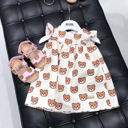 schwarze punktkind-sommerkleid Rabatt Mädchen baby Dreess kurzen ärmeln Cartoon Bär Prinzessin Kleid Kinder Kleid Kind einteiliges Kleid Marke Kleidung