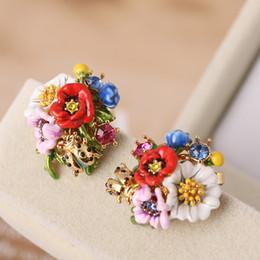 anelli di fiore di ciliegio Sconti Gioielli da sposa da donna Cherry Blossom Poppies Gem Flower Bird Tassel Orecchini femminile Glassa Anelli Earing con pendente