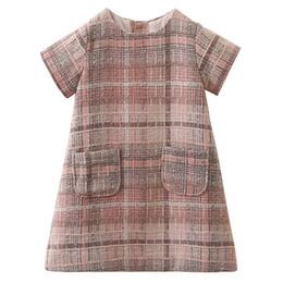 Mädchen gitter kleid online-Babys Frühling Herbst verdicken Kleid Kinder Gitter Outwear Röcke Kinder Boutiquen Kleidung elegante Kleidung neuer Entwurf