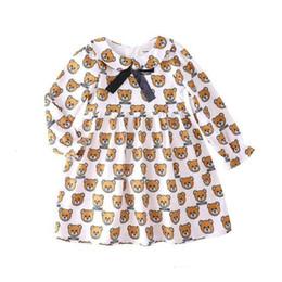 beste kinder sommerkleider Rabatt Kinder Kleinbaby-Mädchen kleidet Revers Puppe Bär gedruckt Rüschen Prinzessin Kleider für Kinder Kleidung Mädchen Kleidung