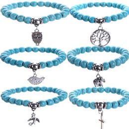 croci turchesi per braccialetti Sconti Personalità della Boemia per donna Bracciale turchese con perline Albero della vita Uccello Croce Ciondola i ciondoli Gioielli impilabili per amante del braccialetto