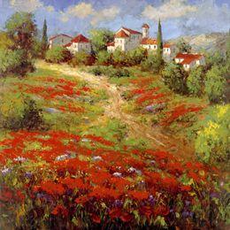 telai di pittura a olio del villaggio Sconti Dipinti ad olio su tela Country Village II grande opera d'arte per soggiorno dipinto a mano