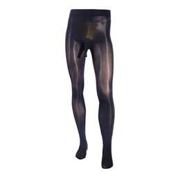 Нейлоновые чулки мужчины онлайн-Sexy Men Oil Shiny Penis Sheath Sheer Pantyhose Sissy Lingerie Glossy Stockings Nylons Tights Hosiery Plus Size