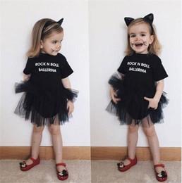 Meninas dança shorts preto on-line-Bebés Meninas de dança ballet romper vestido de manga curta rocha vestido tutu n roll bailarina carta de impressão vestido de tule cor preta roupas de verão