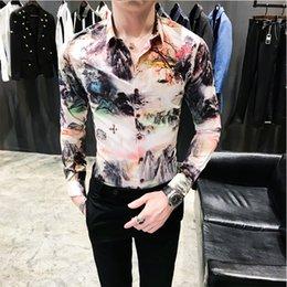 2019 lässige tuxedo styles Mode 2019 Herbst Neue Hemd Männer Chinesischen Stil Drucken Slim Fit Langarm Smoking Retro Casual Nachtclub Party Hemden Mann günstig lässige tuxedo styles