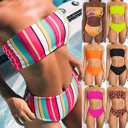 Wholesale Bathing Suits - Women Bandage High Waist Swimwear Fashion Print Bikini Causal Slim Bathing Suits Summer Sexy Beachwear Bras Panties TTA523