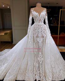 2019 vintage trompete stil brautkleider 2019 Unique Long Sleeve Mermaid Wedding Dress With Detachable Train Luxury Dubai Arab Sheath Lace Appliqued Bridal Gown Custom Made