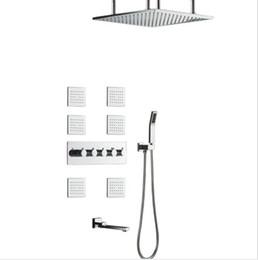 Chuveiros jatos de corpo on-line-304SUS e latão torneiras torneiras do chuveiro do banheiro 50 * 50 centímetros de chuva chuveiro conjunto de chuveiro de alto fluxo de desviador misturador sistema de chuveiro jatos de chuva