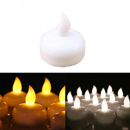 Levou luz chá vela on-line-12pcs 4 * 4 centímetros Flameless Waterproof Float LED Candle Lamp on Water Led Plastic Floating Tea luzes a pilhas Decoração de Natal