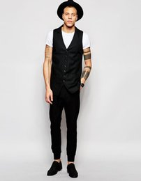 rags clothing Promo Codes - 2017 Black Eye Rags Longline Waistcoat With Pinstripe Custom Made vest for Man 's clothes Business Waistcoat Suit Vest 1 pcs