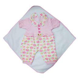 Patrón de elefante hecho a mano Jumpsuit Hat Pantalones Calcetines Juego de cojines para 22 '' - 23 '' Muñeca Reborn Accesorio Rosa desde fabricantes
