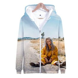 2019 musik-sweatshirts 3D Billie Eilish Casual Langarm Reißverschluss Hoodies Sweatshirt Frauen / Männer Mode Harajuku Musik Sänger 3D Billie Eilish Zipper Hoodie rabatt musik-sweatshirts